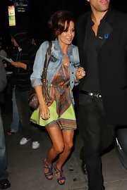 Brooke looked bright and colorful in a printed silk dress paired with leather strappy platform sandals.