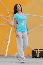 Adriana Lima looked relaxed and comfy while posing in these casual sports pants for a photo shoot for Victoria's Secret.