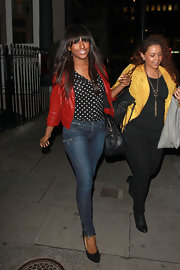 Alexandra Burke donned black suede platform pumps during a night out on the town.