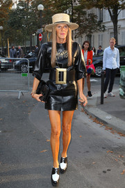 Anna dello Russo opted for a pair of two-tone leather lace-ups by Celine to pair with her LBD.