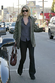 Ali Larter kept her cool in a chambray button up and olive cargo jacket.