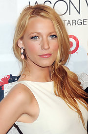 Blake Lively wore a coat of sheer shiny gloss over her medium pink lipstick at the launch of Jason Wu for Target.