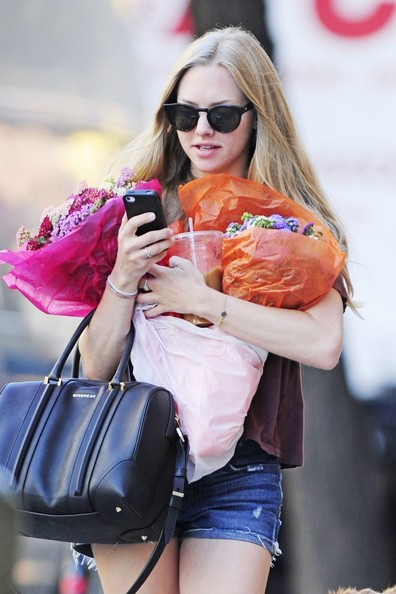 Amanda Seyfried Leather Bowler Bag