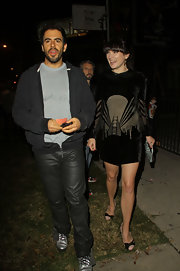 Eli Roth's black leather pants added some edginess to his casual get-up.