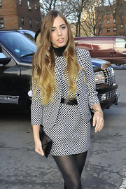 Amber Le Bon wore a trendy high-contrast skirt suit at the Michael Kors show.