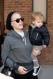 Pink chose a black knit beanie to top off her uber-casual look while out with her daughter in NYC.