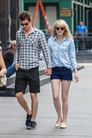 Andrew Garfield chose a blue plaid button down for his look while taking a walk with Emma Stone.