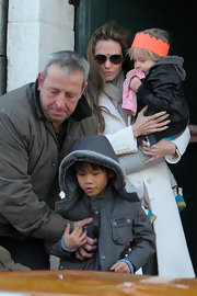 Angelina donned brown aviator glasses while in Venice with her family.