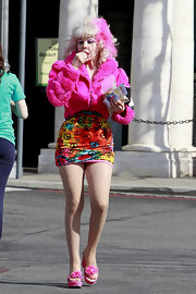 Angelyne finished off her ultra girly look with frilly pink platform sandals.