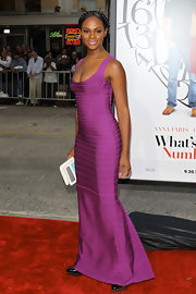 Tika Sumpter made jaws drop with this long purple bandage dress at the premiere of 'What's Your Number.'