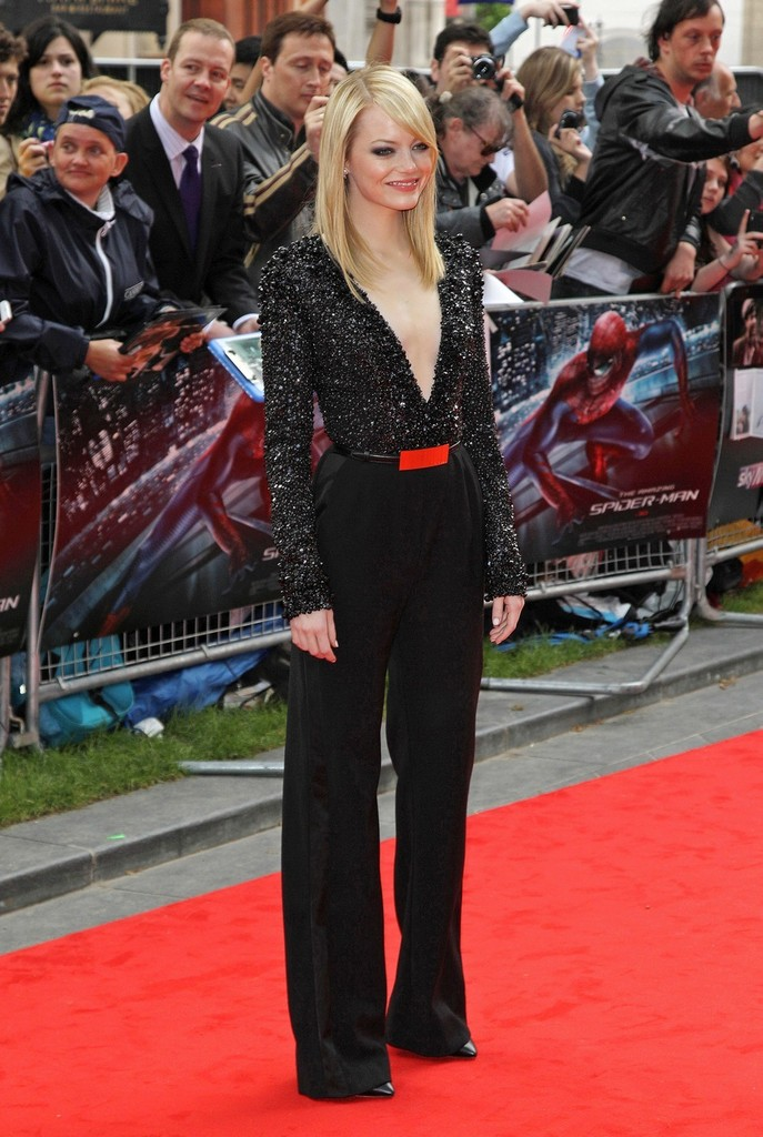 Emma Stone seen arriving to the premiere of new film 'The Amazing Spiderman' at the Odeon Cinema at Leicester Square in London.
