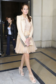 Anouchka was lovely at the Elie Saab Couture show wearing a pleated chiffon skirt with a matching cream leather jacket.