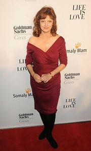 Susan Sarandon showed just a hint of skin in this red off-the-shoulder frock.