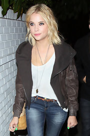 Ashley Benson styled her subtly layered bob in beachy waves.