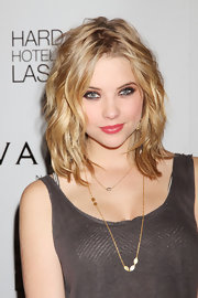 Ashley Benson wore her layered cut in soft, tousled waves while celebrating her birthday in Las Vegas.