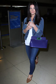 Ashley Greene wasn't afraid of denim on denim when she paired this cropped denim jacket with a pair of jeans.