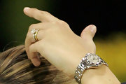 Athina's silver watch sparkled at the Gucci Masters.