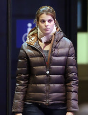 Athina was right on trend with this chocolate colored puffa jacket.