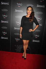 La La Anthony chose a classic black dress for her red carpet look.
