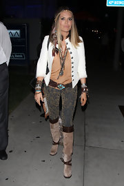 Brooke Mueller softened up her heavily accessorized looked with slouchy suede knee-high boots.