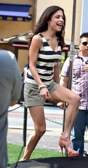 Bethenny Frankel stepped out in a sparkly tank, khaki shorts and muted coral suede heeled sandals.