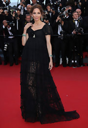 Eugenia Silva chose a flowing black lace gown for the premiere of 'The Immigrant.'