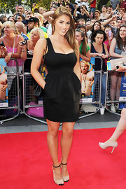 Lucy Pinder finished off her look in modern style with a pair of two-tone sandals.