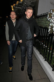Professor Green was ultra-stylish at the Dior party in classic blue jeans and a black cowl-neck button-down.