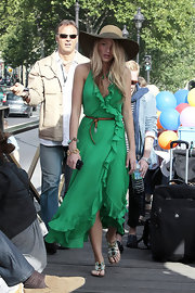 Blake wore a fun, ruffled halter dress with stone-embellished sandals.