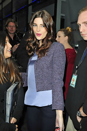 Ashley Greene looked feminine and chic on the 'Today Show' in a cropped purple tweed jacket and a silky lavender top.