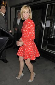 Amanda Holden went to dinner with fellow 'Britain's Got Talent' judges in a red floral print dress.
