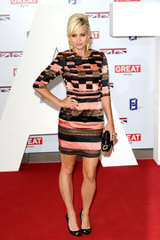 Kimberly Wyatt looked like a piece of art in this patchwork velvet dress.