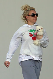 Britney Spears' youthful side came through with this cherry print hoodie, which she wore while taking her dog to the vet.