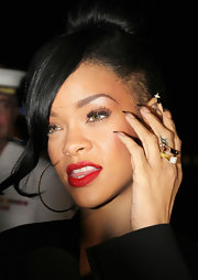 Rihanna rocked an ombre manicure at a screening of 'Battleship' featuring colorless nails with black stiletto tips.
