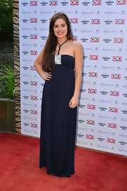 Rachel Shenton wore this deep navy maxi dress to the 'OK!' magazine summer party in London.