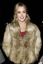 Caggie Dunlop wore a pair large hoop earrings at a party held at Miabella Club in London.