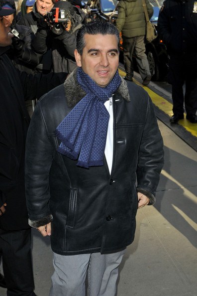 Buddy Valastro traded in his pastry chef uniform for a sleek leather jacket and blue patterned scarf for and appearance on 'GMA.'