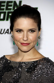 Sophia Bush drew attention to her hazel eyes with false eyelashes. White shadow under the eyes gave her a doe eyed look.