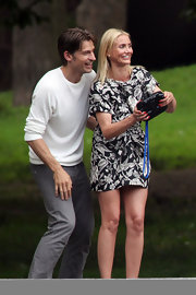 Cameron Diaz's on set look was super cute with this black-and-white floral frock.