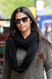 Camila Alves looked cozy in this knit scarf and sweater while out and about in NYC.