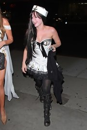 Avril Lavigne gave her sexy sailor costume her signature punk-princess twist with a pair of knee-high lace-up boots.