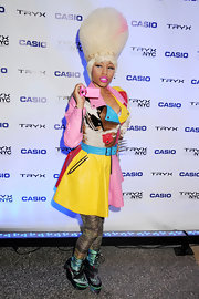 Nicki Minaj wore knockout multi-colored neon lace-up platform boots to the Casio Tryx launch.