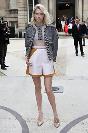 Elena chose this gray tweed jacket with chevron trim to pair with her structured dress shorts.