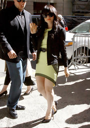 Carly Rae Jepsen rocked a cool green frock with darker green panels and an uneven hem while out in NYC.