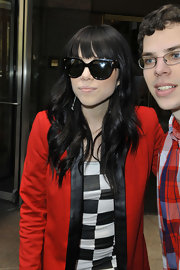 Carly Rae Jepsen chose a pair of oversized sunnies for her cool rocker-chick style.