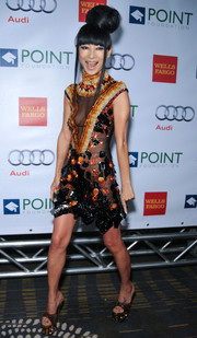 Bai Ling completed her head-turning ensemble with a pair of glittery, sky-high platform sandals.