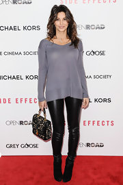 Gina Gershon looked edgy-chic at the 'Side Effects' premiere in black leather skinnies and a boatneck sweater.