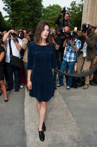 Astrid Berges Frisbey kept it breezy in a navy corduroy shift dress while attending the Chanel fashion show.