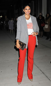 Rachel Roy elevated her American flag T-shirt with a tailored gray boyfriend blazer.