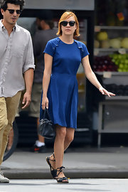 Chloe chose this blue denim skater dress for her casual look while out in NYC.